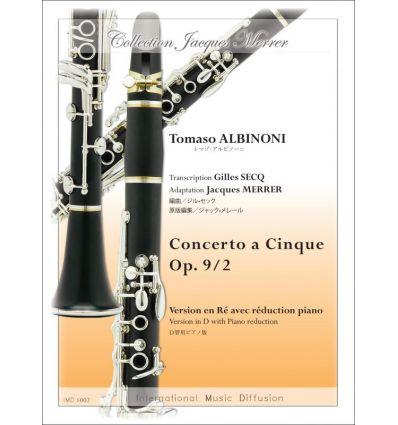 Concerto a cinque, op.9/2, réd. cl. en ré et piano...