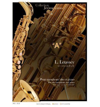 A, pour saxophone alto et piano. 2017. Difficulté 7